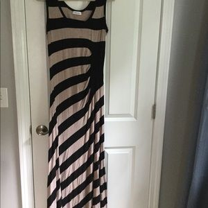 CALVIN KLEIN BEIGE & BLACK STRIPED DRESS